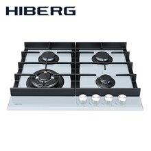 Встраиваемая панель с газ-контролем HIBERG VM 6044 W, белое закалённое стекло, мощные чугунные решетки, WOK