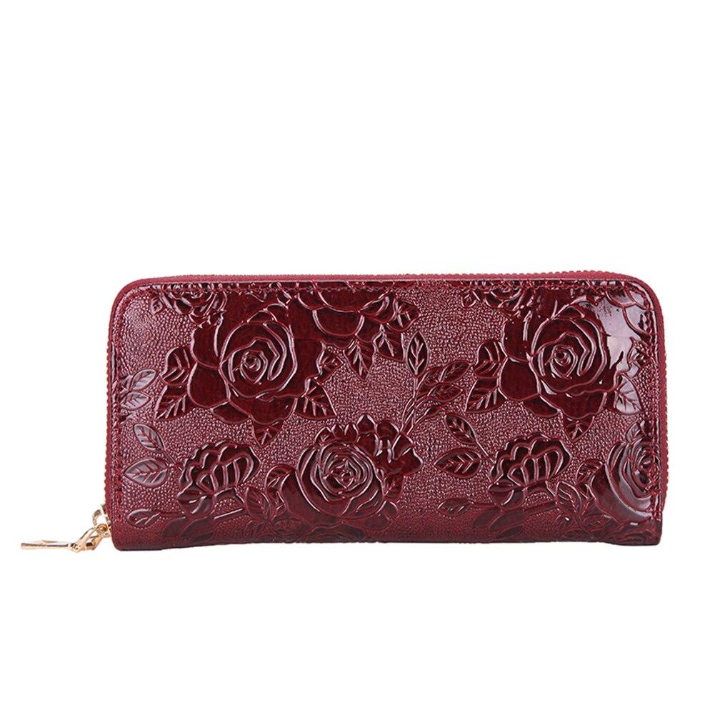 Mode Rose Fleur En Relief Femmes Portefeuille Long Embrayage Téléphone Carte Sac Porte-Monnaie