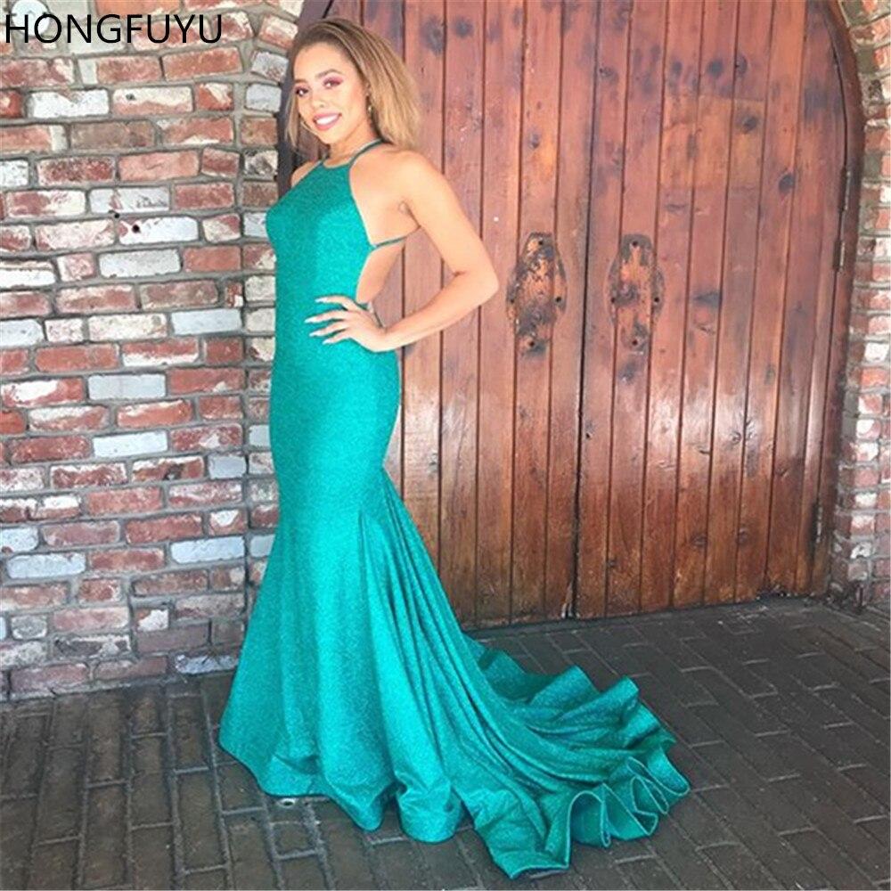 HONGFUYU Backless Glitter Mermaid   Prom     Dresses   2019 O-neck Sleeveless Long Evening Gowns Vestidos de fiesta with Train HFY65416