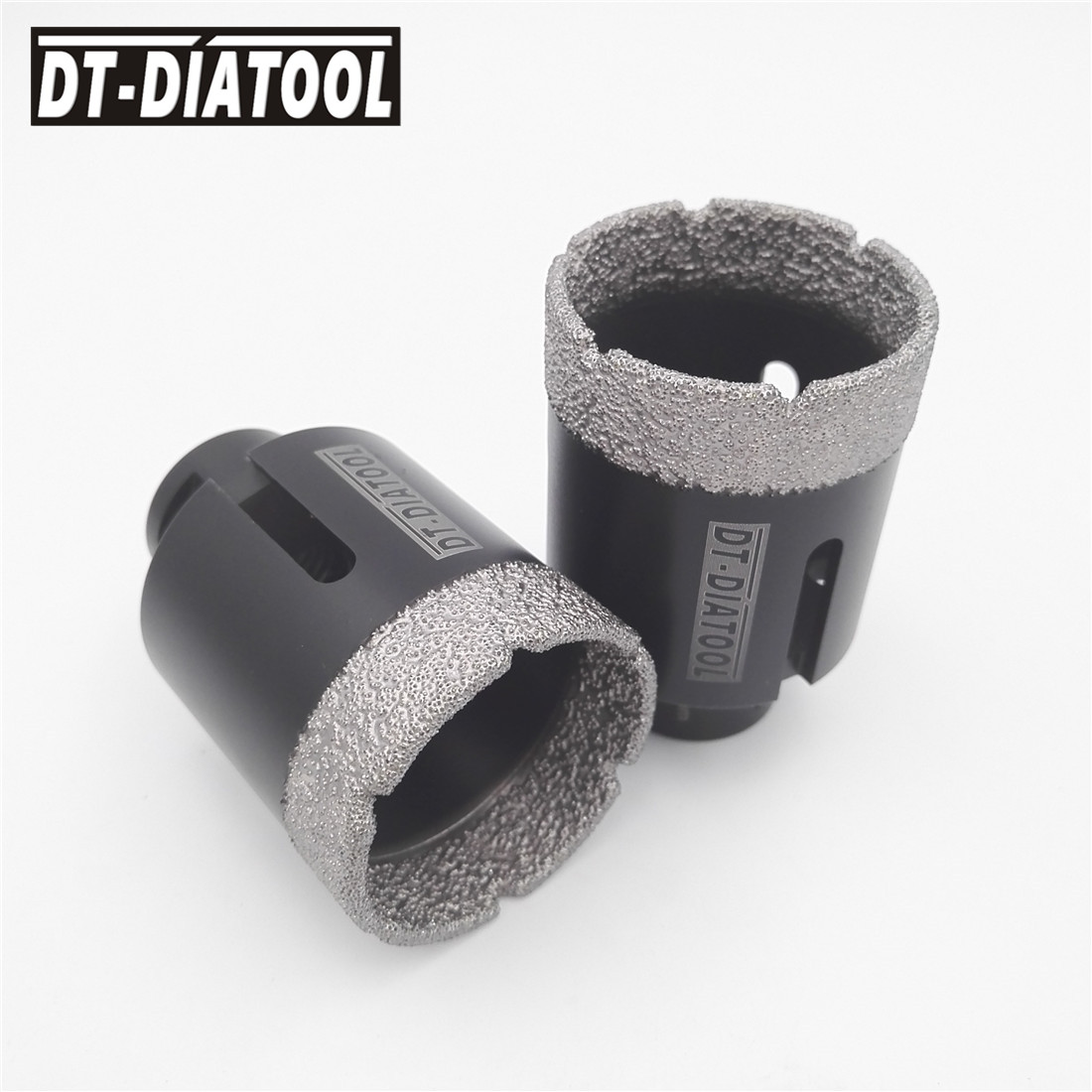 2pcs 2 51MM Dry Diamond drilling core bits Vacuum brazed Tech5/8-11 female thread Drill bits hole saw for tile marble granite hole saw 2diamond core drill bits for drilling for stone and concrete dry drill bit