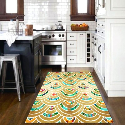 Else Golden Yellow Green Red Half Ring Geometric 3d Print Non Slip Microfiber Kitchen Modern Decorative Washable Area Rug Mat