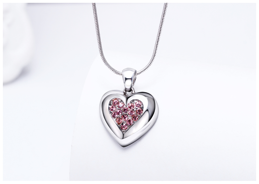 DreamCarnival 1989 Flash Deal Sales Party Jewelry parure Bijoux femme Pink Crystals Heart Pendant Necklace for Women 18N1019 14
