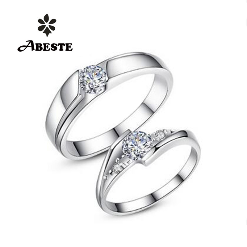 ANI 18K White Gold (AU750) Lovers' Wedding Ring 0.34Carat and 0.47 Carat Certified H/SI1 Real Diamond Couple Engagement Rings 18k gold ring pair ring lovers couple simple and elegant male female solid au750 wedding engagement hot sale new trendy size7 18