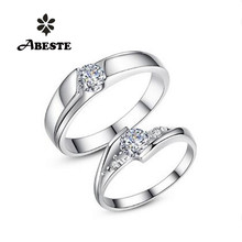 ANI 18K White Gold (AU750) Lovers' Wedding Ring 0.34Carat and 0.47 Carat Certified H/SI1 Real Diamond Couple Engagement Rings цены онлайн