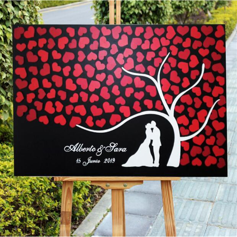 Personalized Wedding Guest Book Rustic Wedding Guestbook Alternative Sign Bride Groom Silhouette Red Heart Wooden Wedding Decor