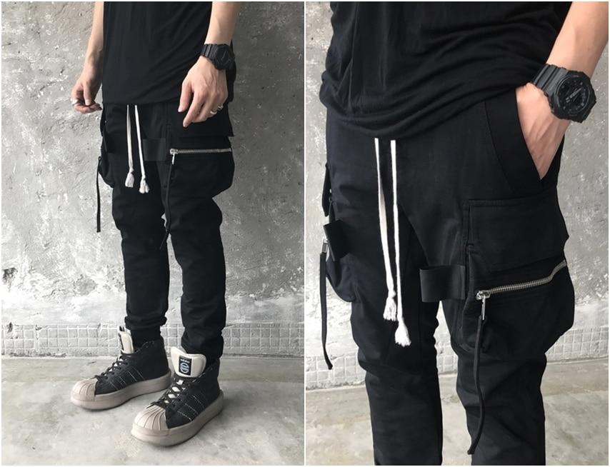 Black Men's High Street Multi -Pocket Slim Fitted Jogger/Boots Pants Casual Overalls / Pioneer Pocket Zipper Slacks / Webbing Ni