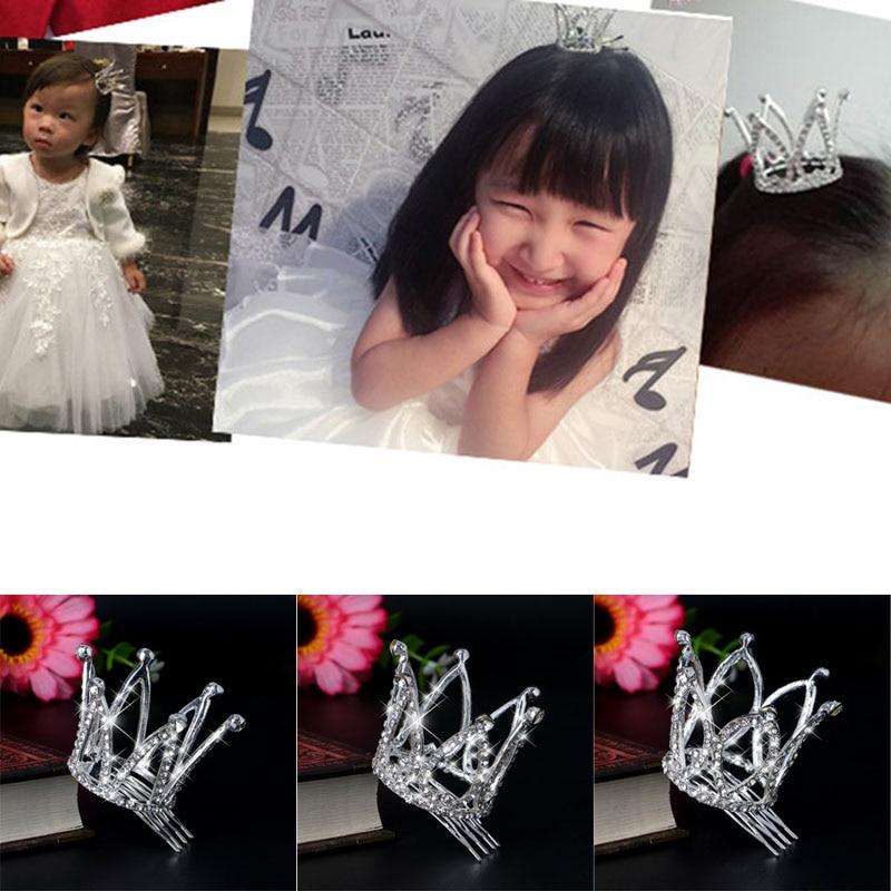 2017 Pretty Kids Girl Crown Hair Clip Hairpin Princess Hair Accessories Headwear  MAR30_17 han edition hair pearl four petals small clip hairpin edge clip a word free home delivery