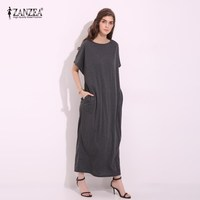 ZANZEA 2017 Womens Summer Round Neck Short Sleeves Loose Casual Party Solid Maxi Long Dress Kaftan