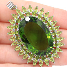 SheCrown Deluxe Long Big 16.6g 30x20mm Green Peridot Ladies Party Silver Pendant 57x37mm