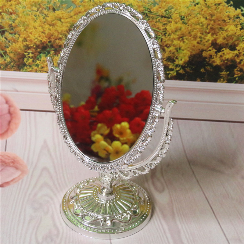 1PCS Plated Plastic Gold Sliver Table Mirror Double Side Mirror Oval Retro Cosmetic Makeup Desktop Mirror For Wedding Gifts