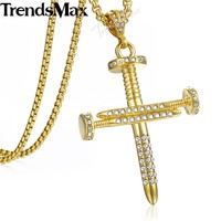 Hip Hop Iced Out Bling Rhinestone Nail Cross Men S Pendant Necklaces Gold Stainless Steel Chain