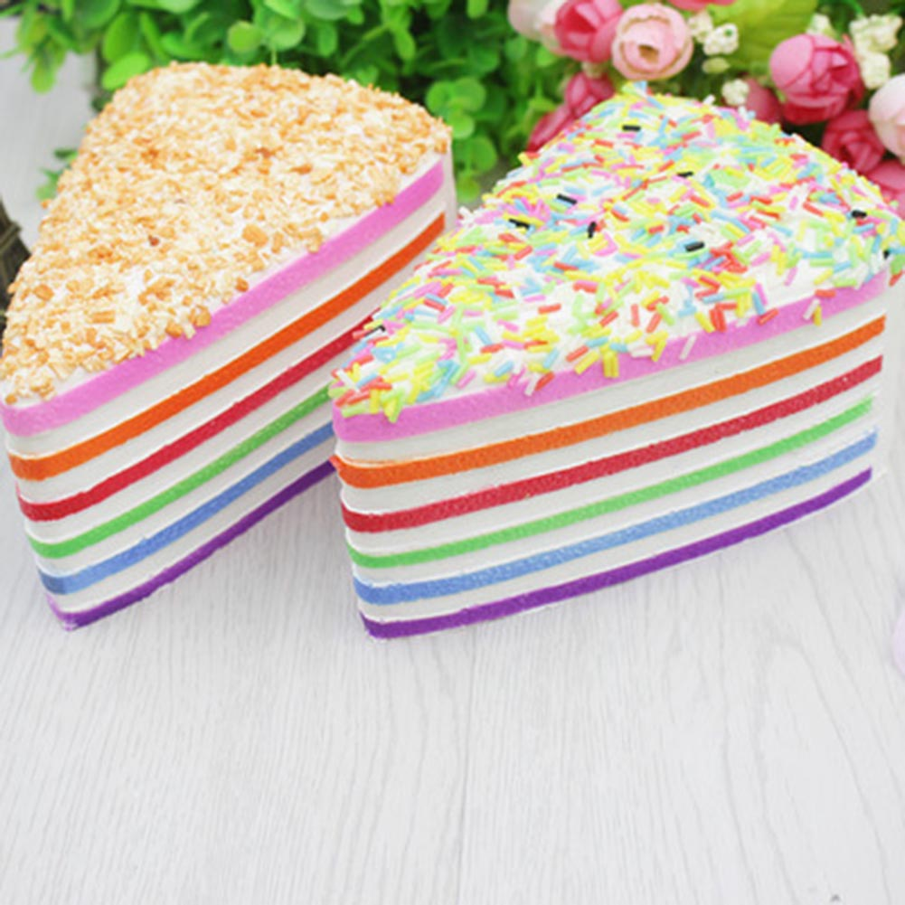 1Pc Colorful Recover PU Simulation Cake Toy Kids Sandwich Triangle Cake Cream Bread Slow Rising Squeeze Stress Pretend Play Toy
