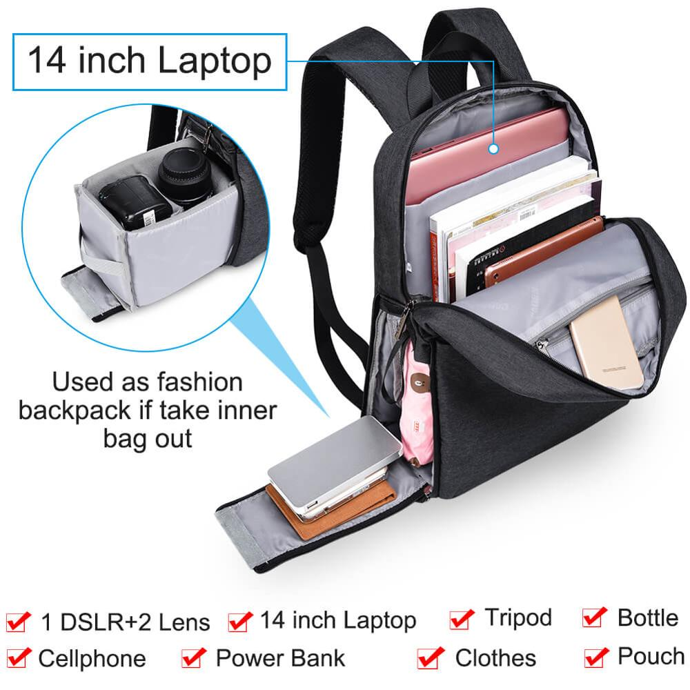 Image 4 - CADeN L4 dslr camera bag waterproof backpack shoulder Laptop digital camera & lens photograph luggage bags case for Canon Nikon-in Camera/Video Bags from Consumer Electronics