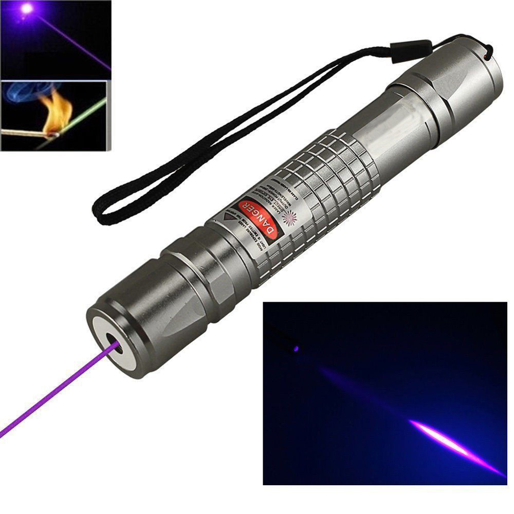 High Power Blue Purple Violet Laser Pointer Pen Powerful 405nm Bright Single Point Burning Beam Light