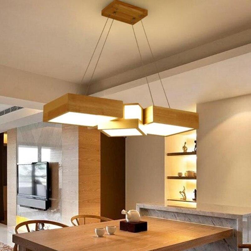 Abajur Restaurant Droplight Solid Wood Nordic Light Dining Room Living Room Pendant Lamps Japanese LED Hanging Light Fixture