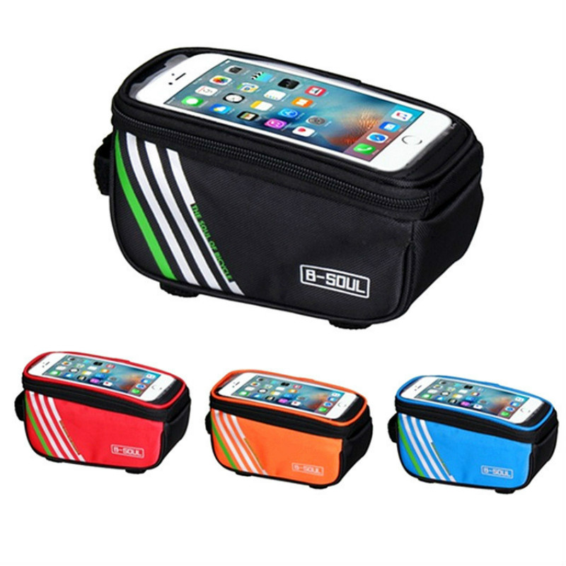Touch Screen Bicycle Bags Portable Bike Cycling Frame Front Tube Storage Waterproof Bike Side Pocket Front open front side pocket hooded coat