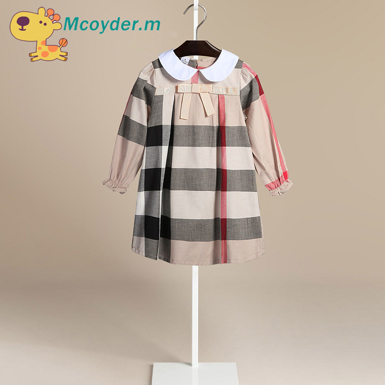 2018 Europe Girls Dresses Plaid Long Sleeve Dresses For Spring Autumn Baby Girls Clothes Toddler Girls Kids Cotton Dress toddlers girls dots deer pleated cotton dress long sleeve dresses page 8