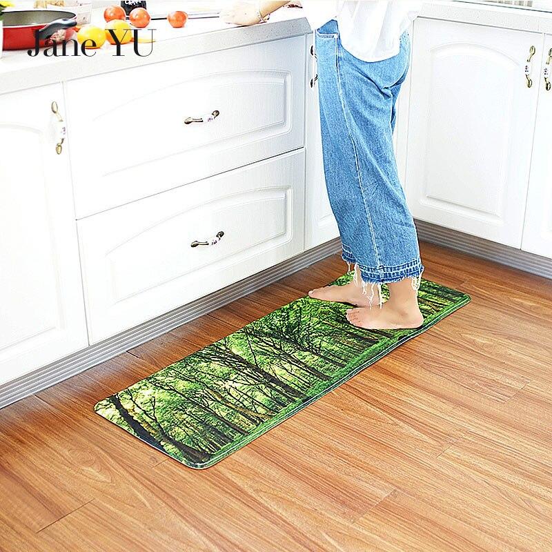 JaneYU 2019 nouvelle cuisine tapis anti-dérapant tapis Nature imprimer salle de bains cuisine tapis maison paillassons salon tapis Tapete anti-dérapant