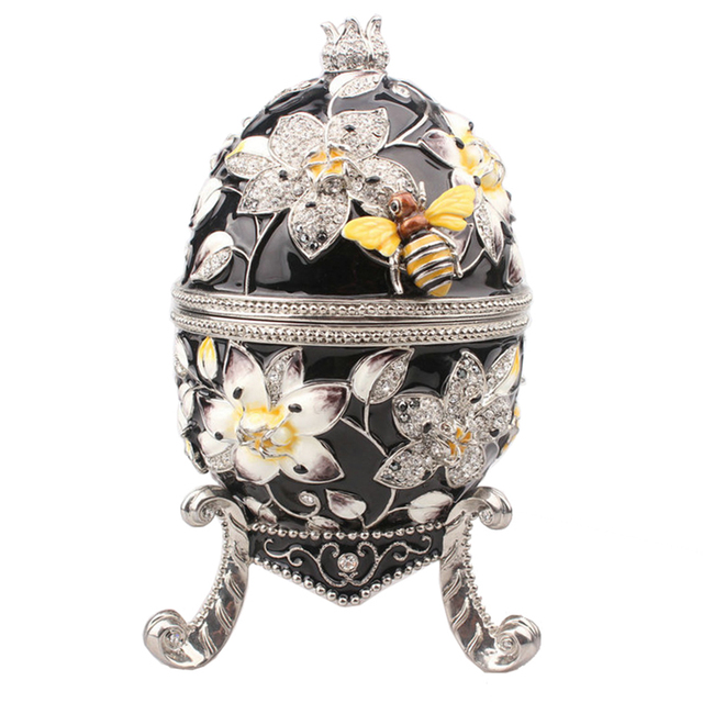 big black Faberge egg with bee jewerly trinket box Russian craft metal ring box  bejeweled bling jewelry collectibles gifts 908ff2248aa9