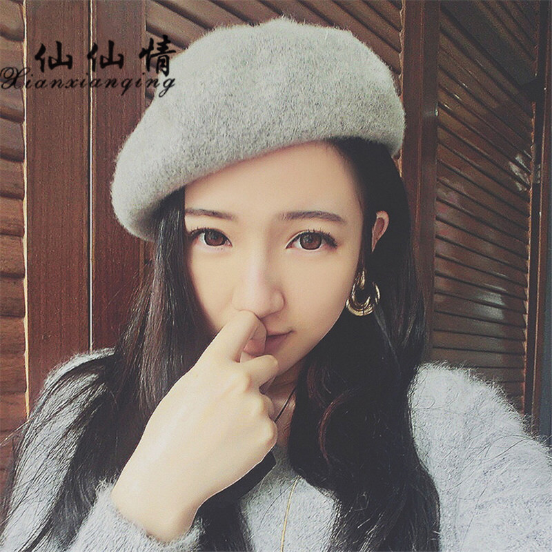 XIANXIANQING New Women Winter Solid Beret Hat Knitted Wool Cashmere Fashion Lady Cap Classic French Artist