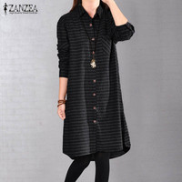 Plus Size S 5XL ZANZEA Women Classic Striped Long Sleeve Shirt Vestido 2017 Lapel Neck Loose