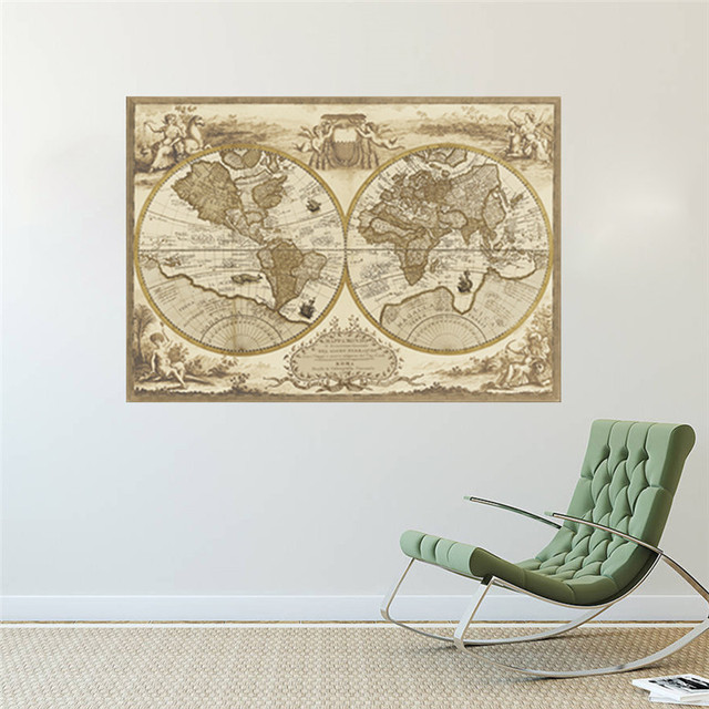 Aliexpress buy vintage world map large detailed antique poster vintage world map large detailed antique poster wall chart retro paper matte kraft paper map of gumiabroncs Choice Image