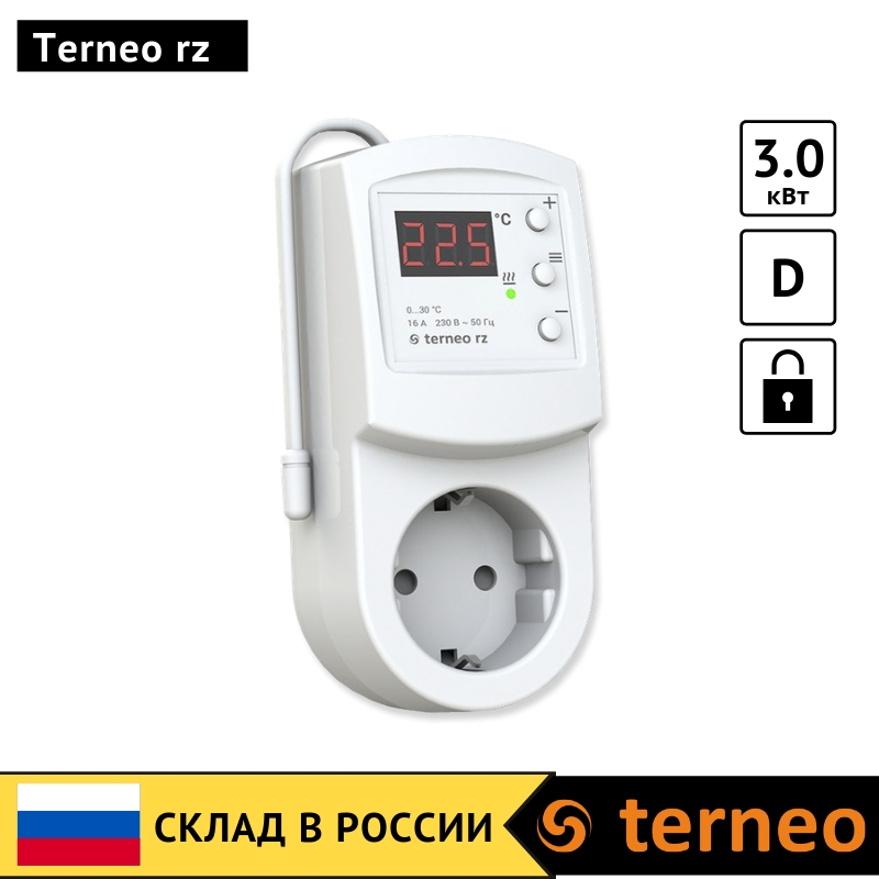 Terneo Rz-electric Thermostat In Socket With Air Temperature Sensor For Convector, Ceramic Infrared Heater Room Heat Controller