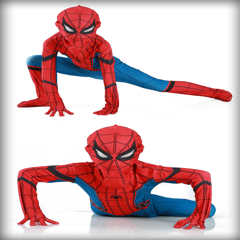 Free Shipping Red Blue Extraordinary Spider-Man Costume Set Spider-Man Children's RPG Party Costume Children's Gift