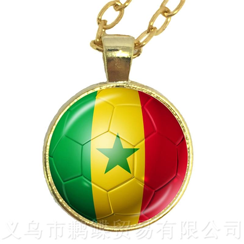 Saudi Arabia,Senegal,Serbia,Switzerland,Sweden,Portugal,Nigeria,Japan Soccer Souvenirs Glass Dome Pendant Football Cup Necklace