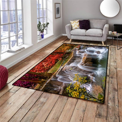 Else Waterfall River Floral Flower  View 3d Print Non Slip Microfiber Living Room Decorative Modern Washable Area Rug Mat