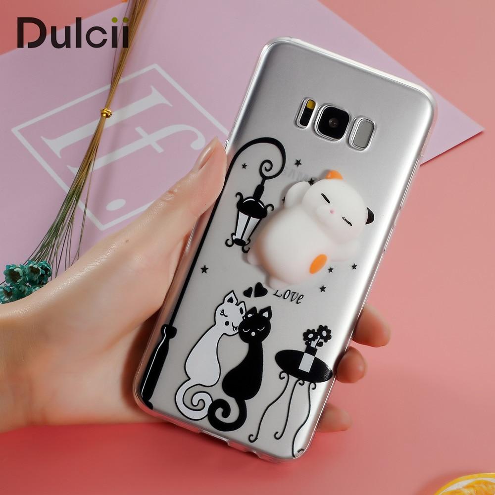 Dulcii Pour Galaxy s8 s8plus Étui Spongieux 3D Silicone Chat TPU Kawaii Housse pour Samsung Galaxy S 8 S8 plus téléphone Coque Funda Cas