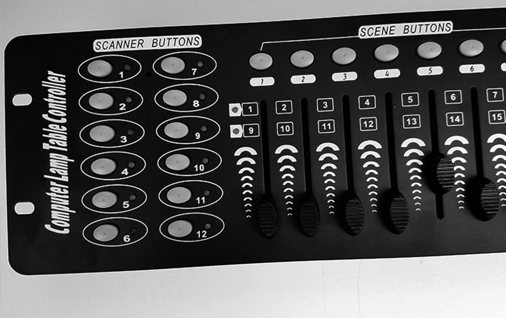 DMX 192 Console Specifications: 1.192DMX CHANNEL 2. 8 Programmable SCENES. 3.8 adjustable potentiometer to adjust the output s