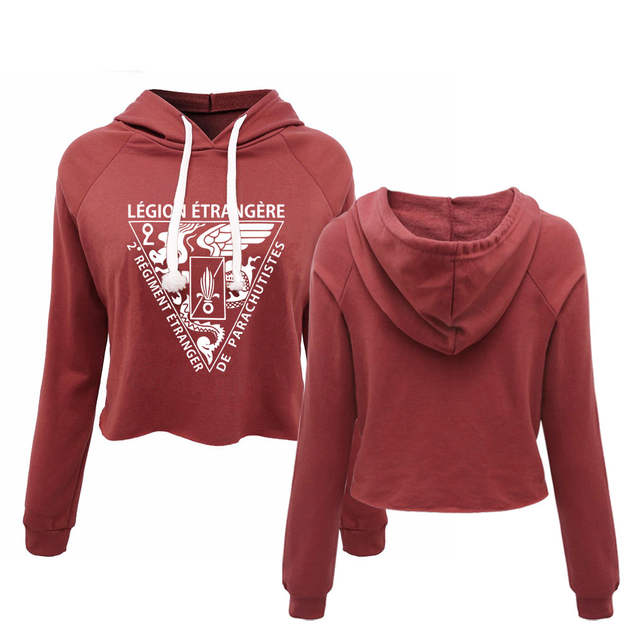 964f7519 Online Shop New French Foreign Legion Special Forces World War Army Women's  Hooded Cropped Sweatshirts Ladies Autumn Crop Tops   Aliexpress Mobile