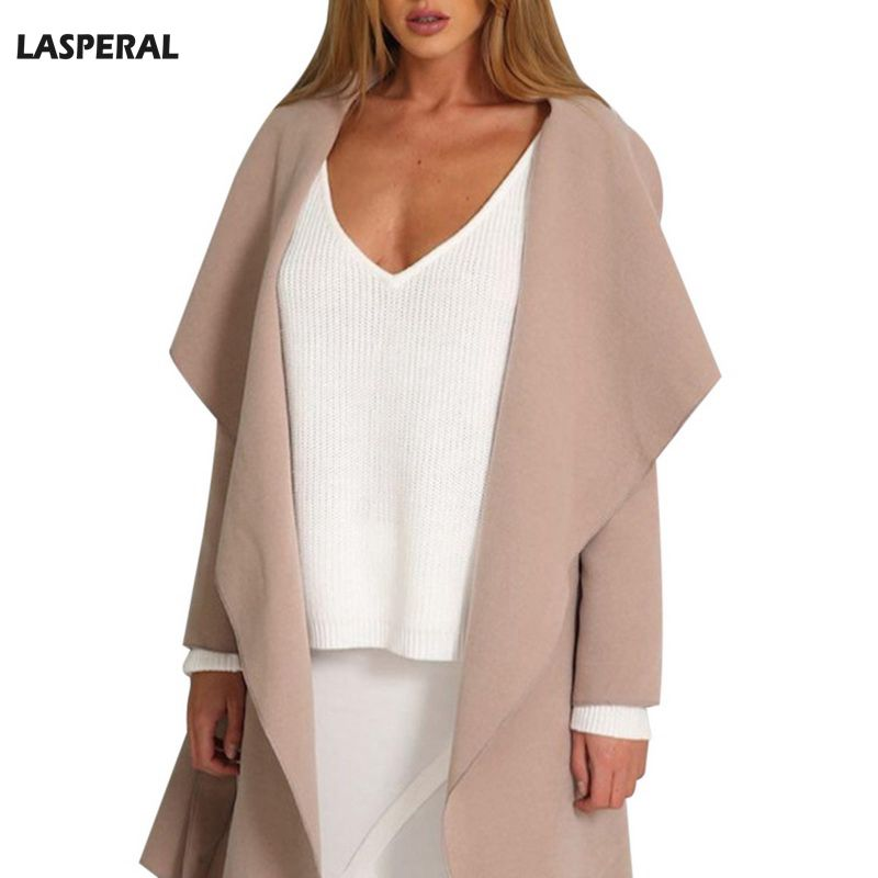 LASPERAL 2017 Fall Elegant Waterfall Collar Women Trench Coat Long Sleeve Open Front Hooded Windbreaker Belt Waist Female Trench