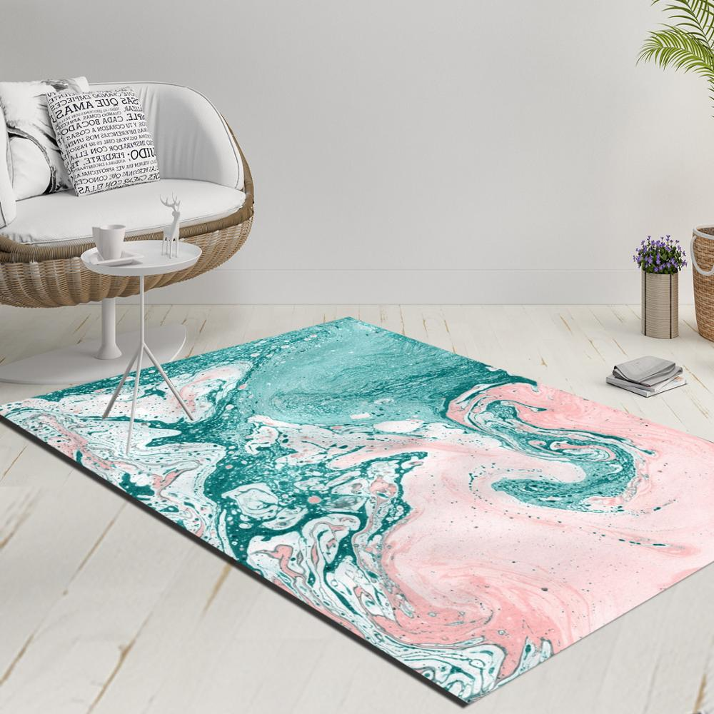 Else Pink Green White Abstract Watercolor Decorative 3d Print Anti Slip Kilim Washable Decorative Kilim Rug Modern Carpet