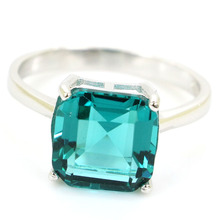 9.25 # 2.7g Garantie Real 925 Solid Sterling Silver Rich Blue Aquamarine Dames Gift Squre Rings 20x10mm