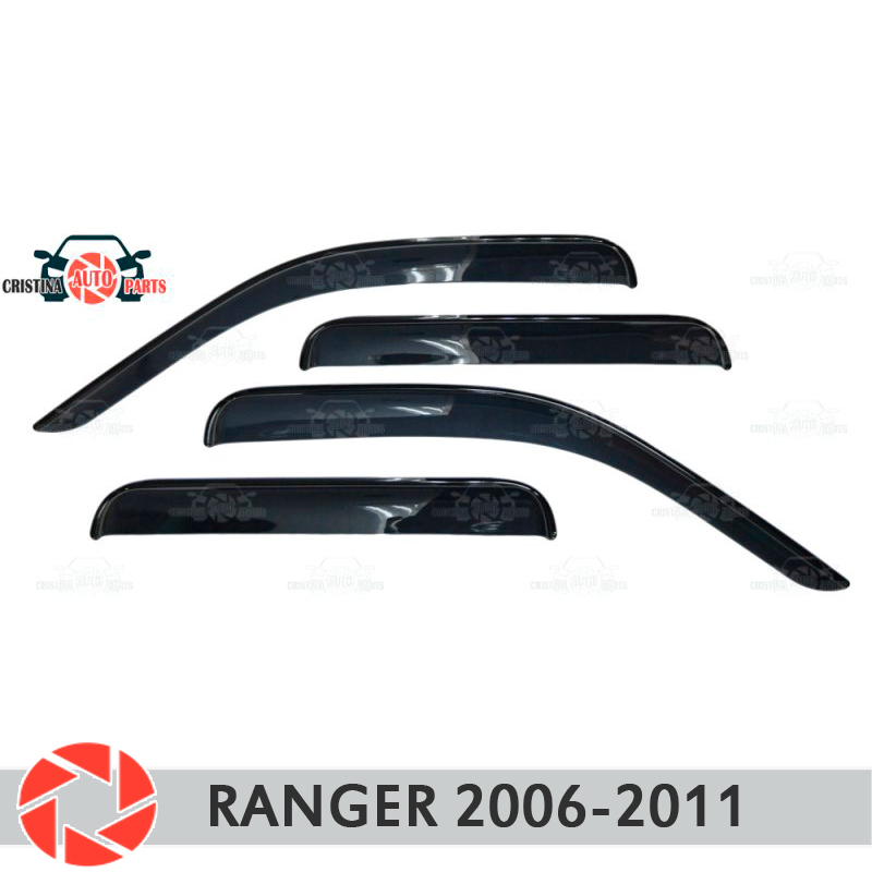 Window deflector for Ford Ranger 2006-2011 rain deflector dirt protection car styling decoration accessories molding car covers abs chrome front headlight lamp cover fit for 2012 2014 ford ranger car styling