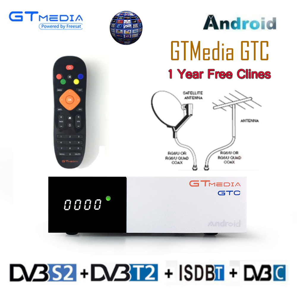 FREE SAT GTC <font><b>Android</b></font> 6.0 <font><b>TV</b></font> <font><b>BOX</b></font> <font><b>DVB</b></font>-<font><b>S2</b></font>/<font><b>T2</b></font>/Cable/ISDBT Amlogic S905D 2GB 16GB BISSkey Powervu 4K Satellite Receiver+1 Year clines image