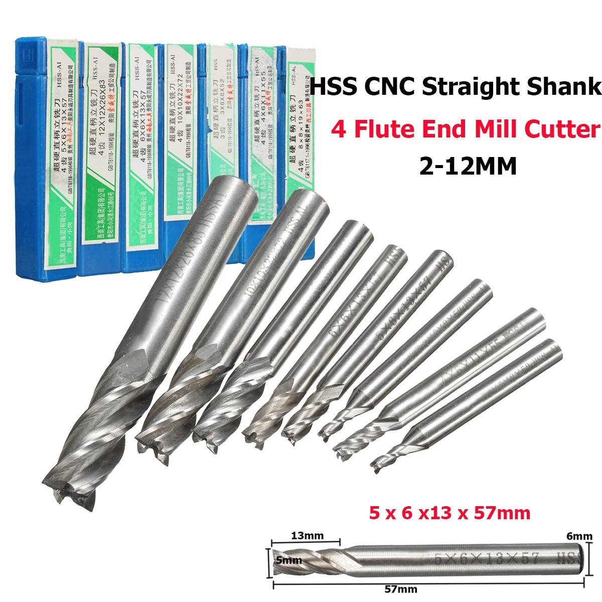 3Pcs 4x12mm Single Flute Milling Cutters for Aluminum CNC Tools Solid Carbide,