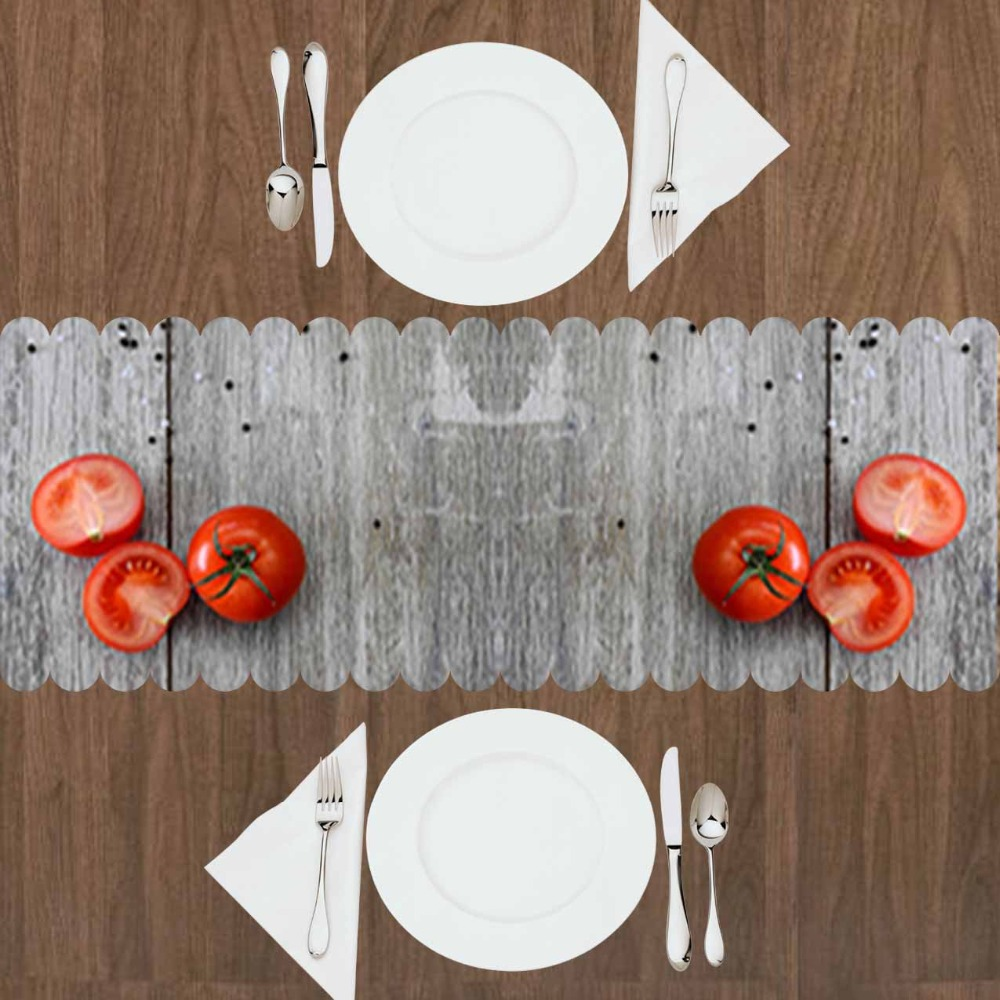Altro Grigio Albero Di Legno Sul Rosso Pomodoro Verdure 3d Modello Di Stampa Da Tavolo Moderna Runner Per La Cucina Sala Da Pranzo Tovaglia Grande Liquidazione