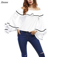2018 Summer Womens Off-shoulder Shirts Lady Ruffled Long Sleeve Bandeau White/Black Blouse Casual Party Holiday Tops Xnxee off the shoulder ruffled blouse for women