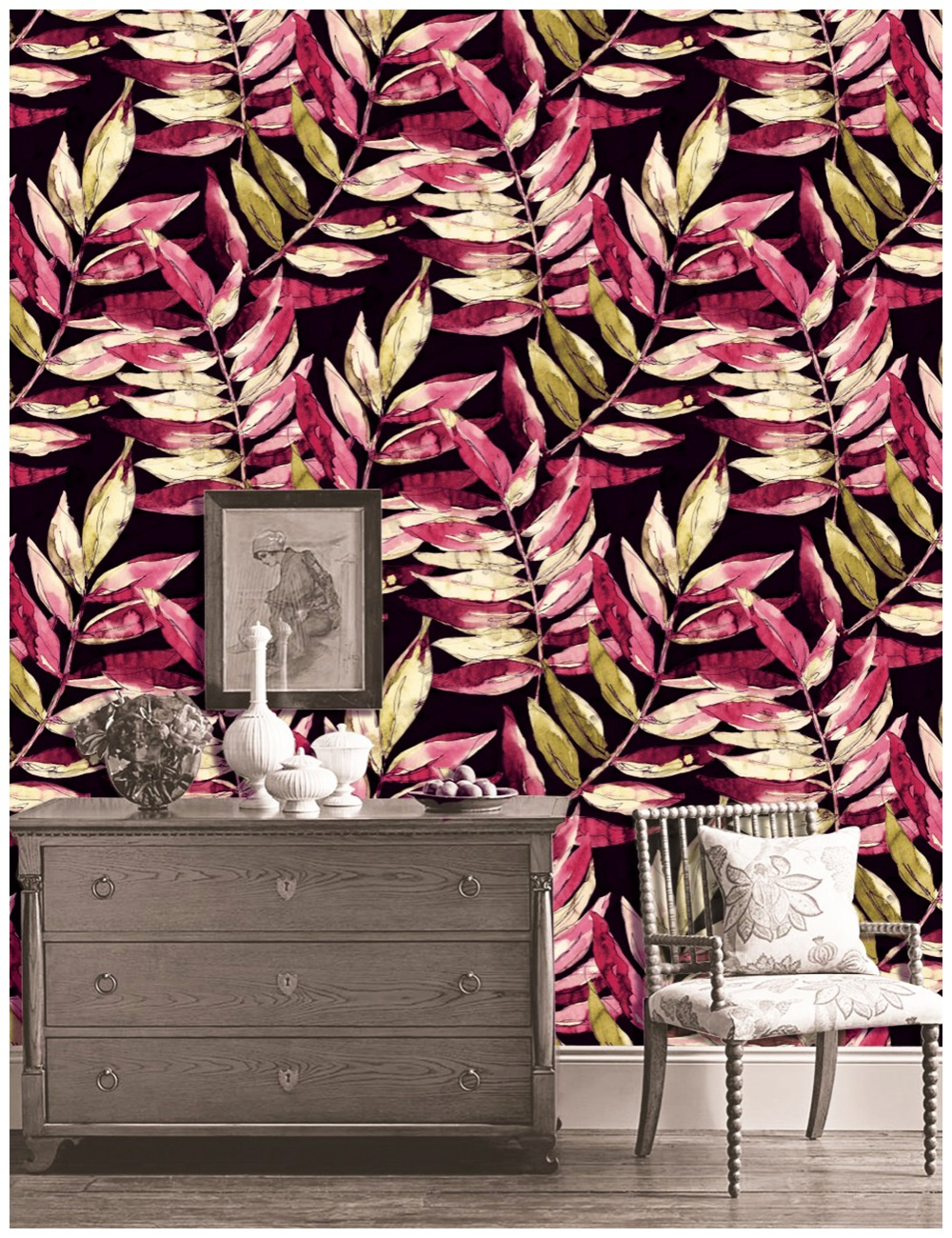 HaokHome Vintage Flower Wallpaper For Walls 3d Red Black Beige Mediterranean style For Living Room Contact