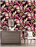 HaokHome Vintage Flower Wallpaper For Walls 3d Red/Black/Beige Mediterranean style For Living Room Contact Paper Wall Decor