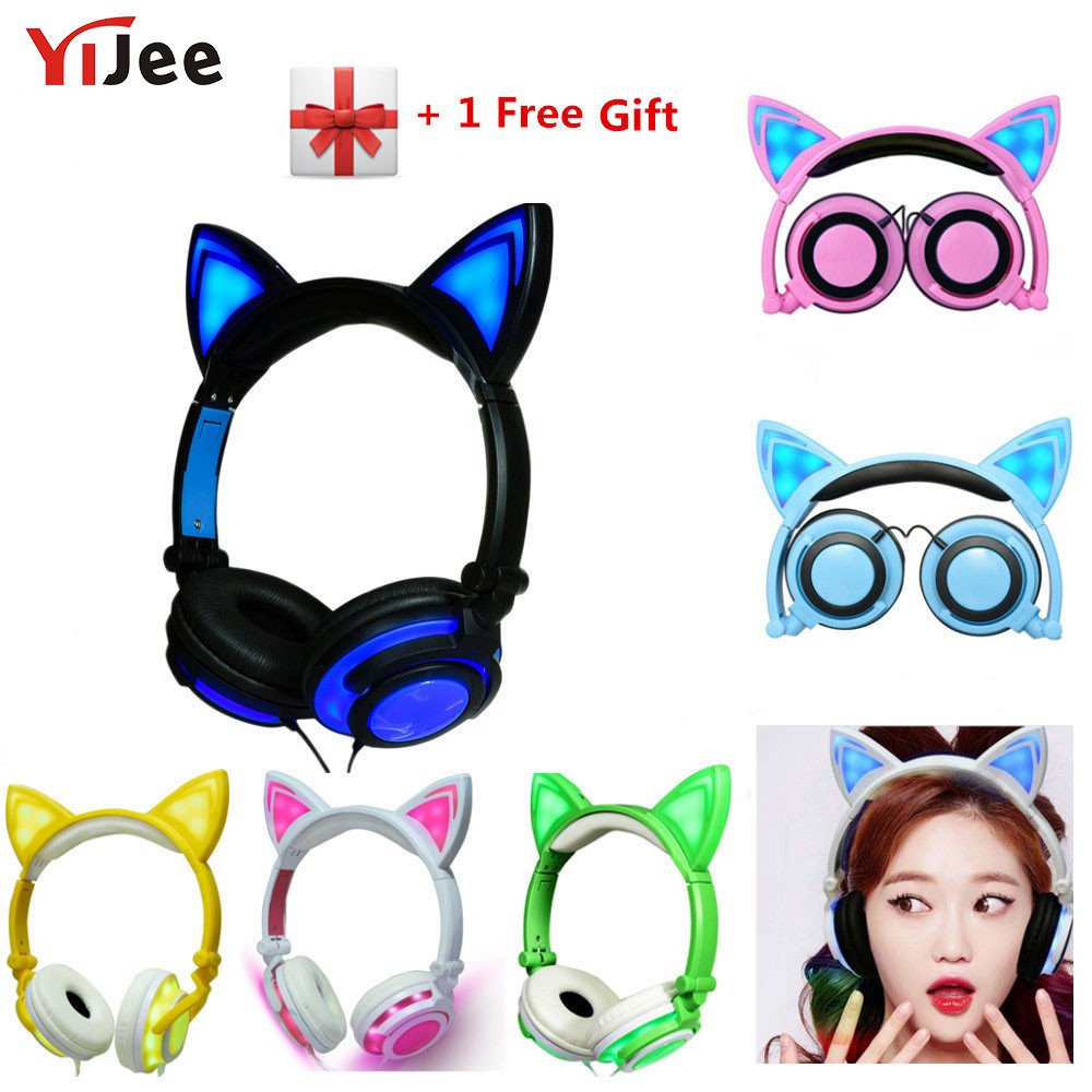 YiJee Cat Ear LED Headphones with LED Flashing Glowing Light Headset Gaming Earphones for PC Computer and Mobile Phone ollivan cartoon cute cat headphones gaming headphones cat ear luminous earphone foldable flashing glowing headset with led light