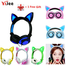 YiJee Cat Ear LED Headphones with LED Flashing Glowing Light Headset Gaming Earphones for PC Computer and Mobile Phone(China)
