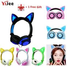 YiJee القط الأذن LED سماعات مع LED وامض متوهجة ضوء سماعة الألعاب سماعات ل جهاز كمبيوتر شخصي والهاتف المحمول