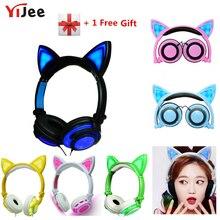 YiJee chat oreille LED casque avec LED clignotant lumière rougeoyante casque de jeu écouteurs pour ordinateur PC et téléphone portable