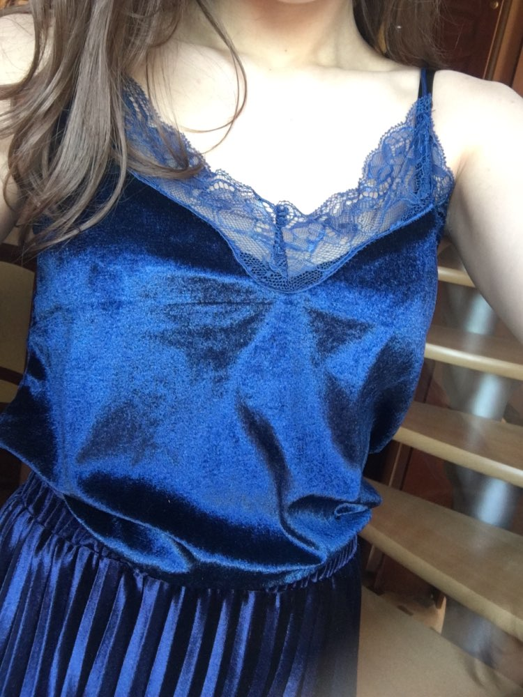 Stylish Women clothes Velvet V-neck pullover Tank Top Lace Geometry Sleeveless casual Vest one pieces