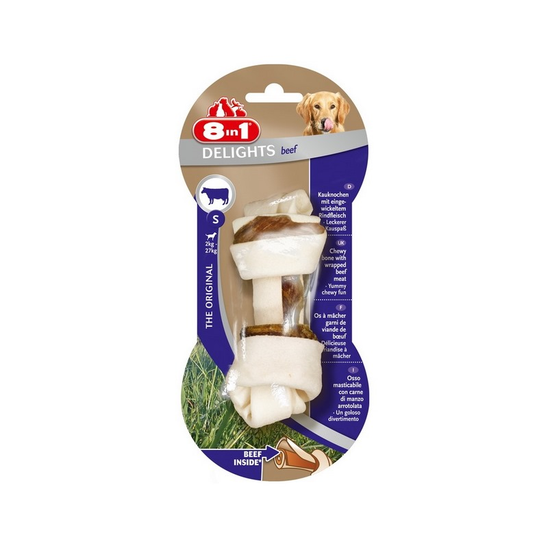 Dogs treats 8in1 DELIGHTS S Beef bone with beef for small and medium dogs (11cm) цена