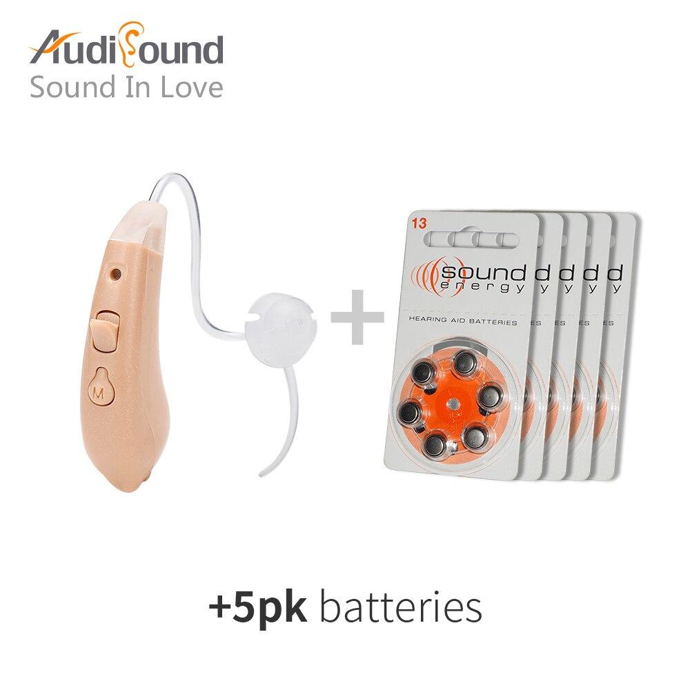 Ухо слуховой аппарат Мини устройства усилитель цифровой слуховые аппараты за ухом для глухих пожилых acustico с 5 px батареи